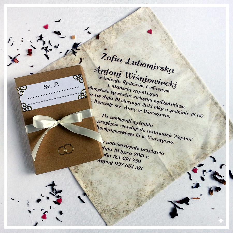 zaproszenia ślubne nachusteczkach