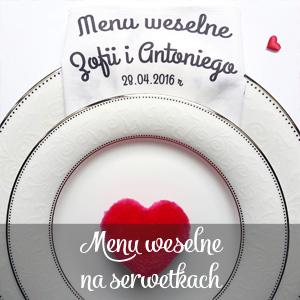menu weselne na serwetkach Mocem