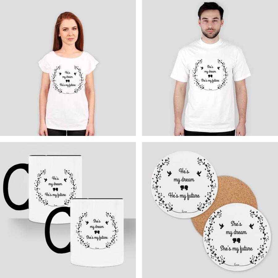 koszulki dla zakochanych, kubki, podstawki